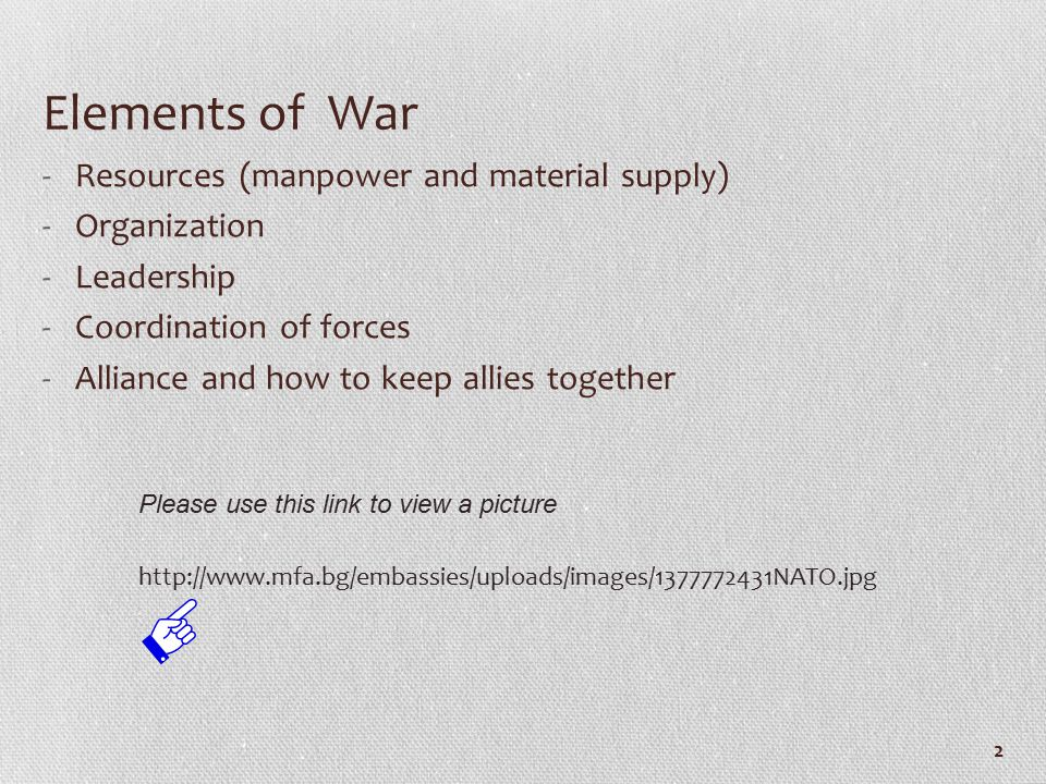 The Emergence of the Concept of Massive Retaliation (John Foster Dulles)1953-54 The Expansion of NATO Eisenhower and SACEUR The Growing Strength of the East Bloc's Conventional Forces NATO's integration of Nuclear and Conventional Forces because NATO would be unable to prevent the rapid overrunning of Europe unless NATO immediately employed these weapons both strategically and tactically. 13 http://media.web.britannica.com/eb-media/65/79865-050-D4C6BD43.jpg Please use this link to view a picture