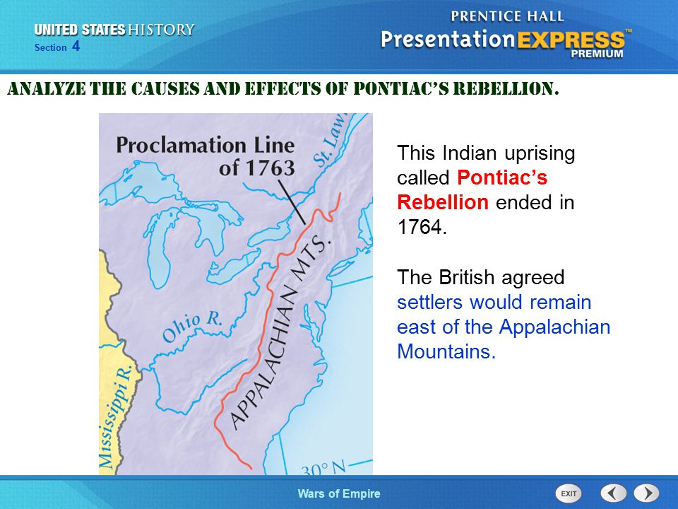 The Cold War BeginsWars of Empire Section 4 This Indian uprising called Pontiac's Rebellion ended in 1764.
