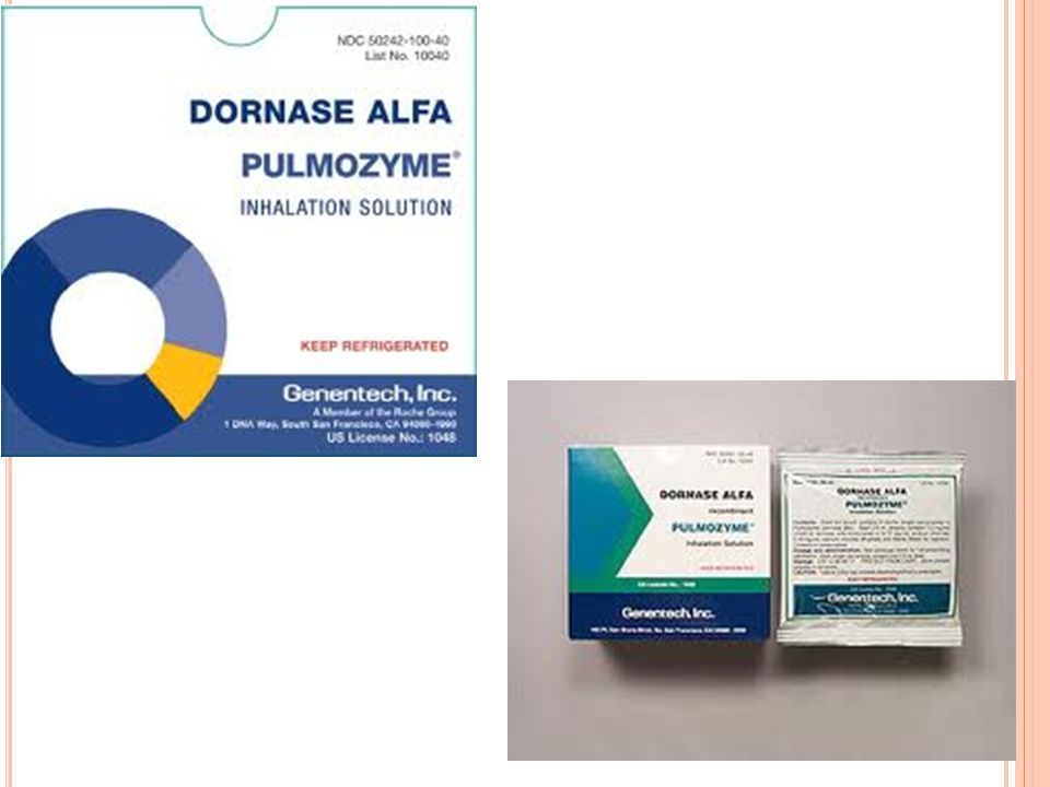 DORNASE ALFA Pulmozyme Clone of the natural human pancreatic DNase enzyme which digests extracellular DNA.