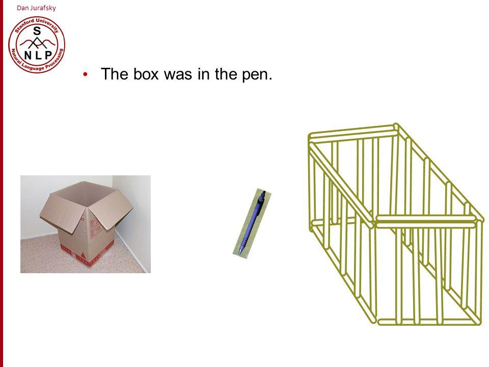 Dan Jurafsky The box was in the pen.