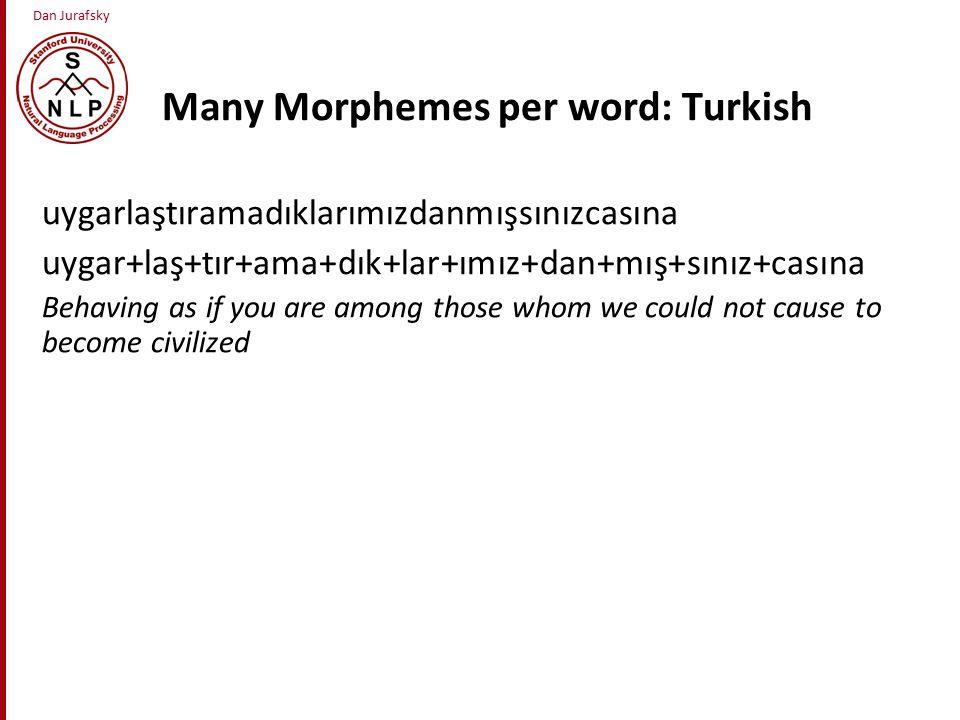 Dan Jurafsky Many Morphemes per word: Turkish uygarlaştıramadıklarımızdanmışsınızcasına uygar+laş+tır+ama+dık+lar+ımız+dan+mış+sınız+casına Behaving as if you are among those whom we could not cause to become civilized