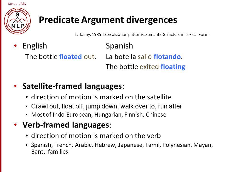 Dan Jurafsky Predicate Argument divergences English Spanish The bottle floated out.La botella salió flotando.