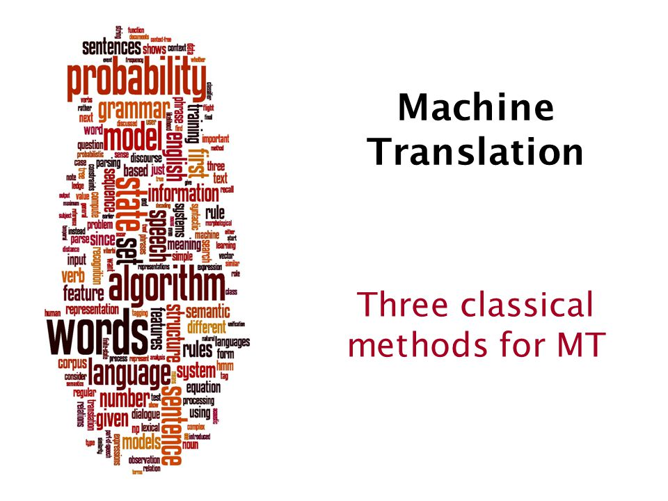 Machine Translation Three classical methods for MT