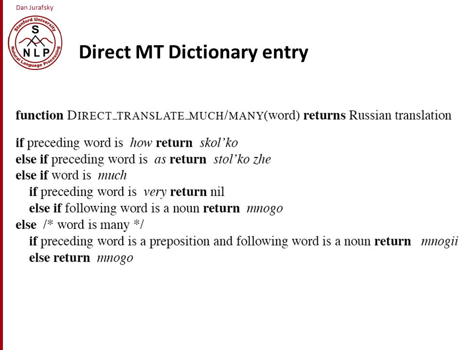 Dan Jurafsky Direct MT Dictionary entry