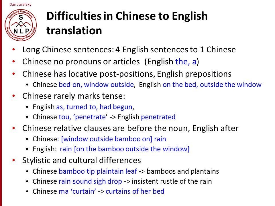 Dan Jurafsky 3 Classical methods for MT Direct Transfer Interlingua