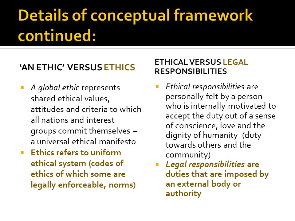 'AN ETHIC' VERSUS ETHICS  A global ethic represents shared ethical values, attitudes and criteria to which all nations and interest groups commit the