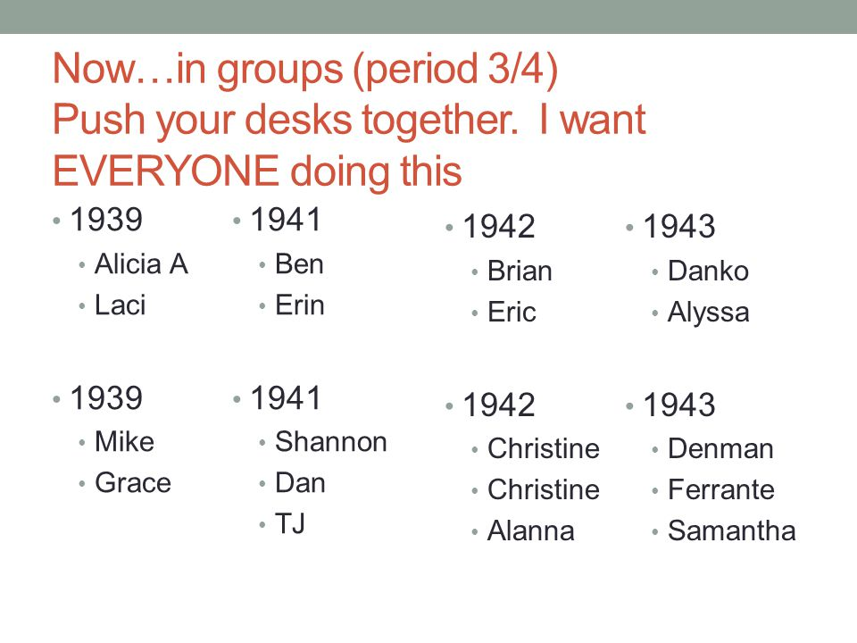 Now…in groups (period 3/4) Push your desks together. I want EVERYONE doing this 1939 Alicia A Laci 1939 Mike Grace 1941 Ben Erin 1941 Shannon Dan TJ 1