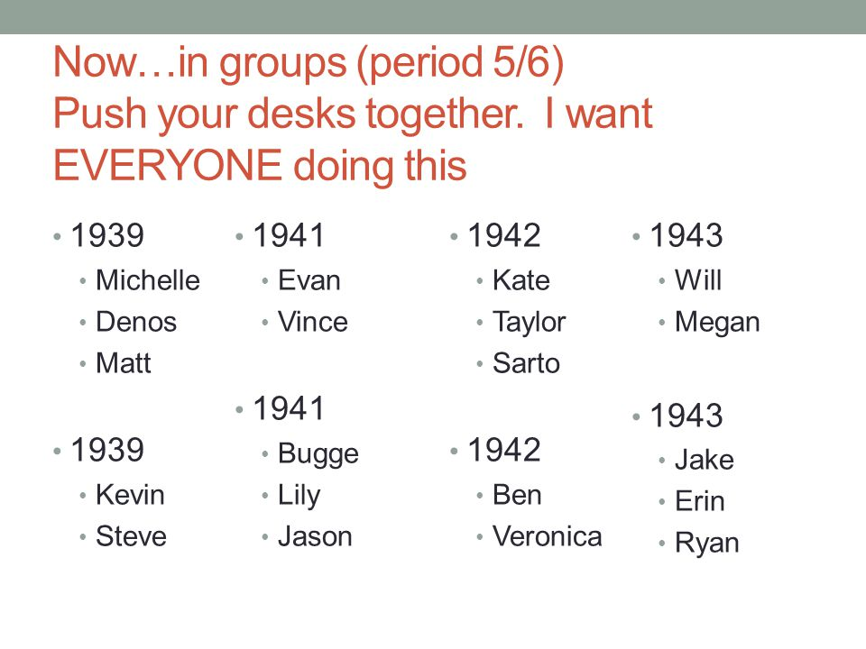 Now…in groups (period 5/6) Push your desks together. I want EVERYONE doing this 1939 Michelle Denos Matt 1939 Kevin Steve 1941 Evan Vince 1941 Bugge L