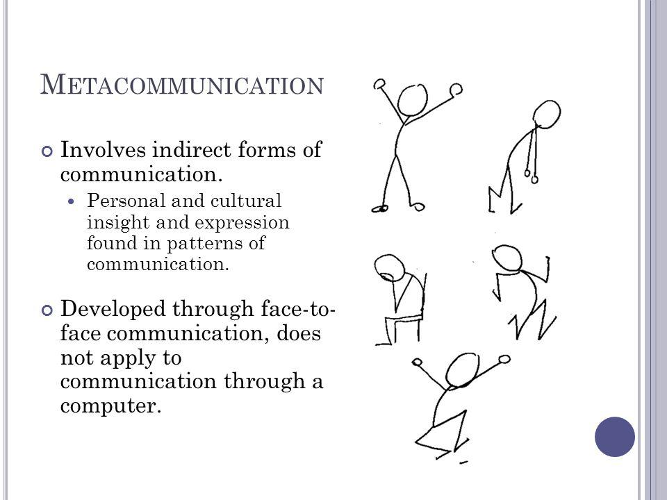 M ETACOMMUNICATION Involves indirect forms of communication.