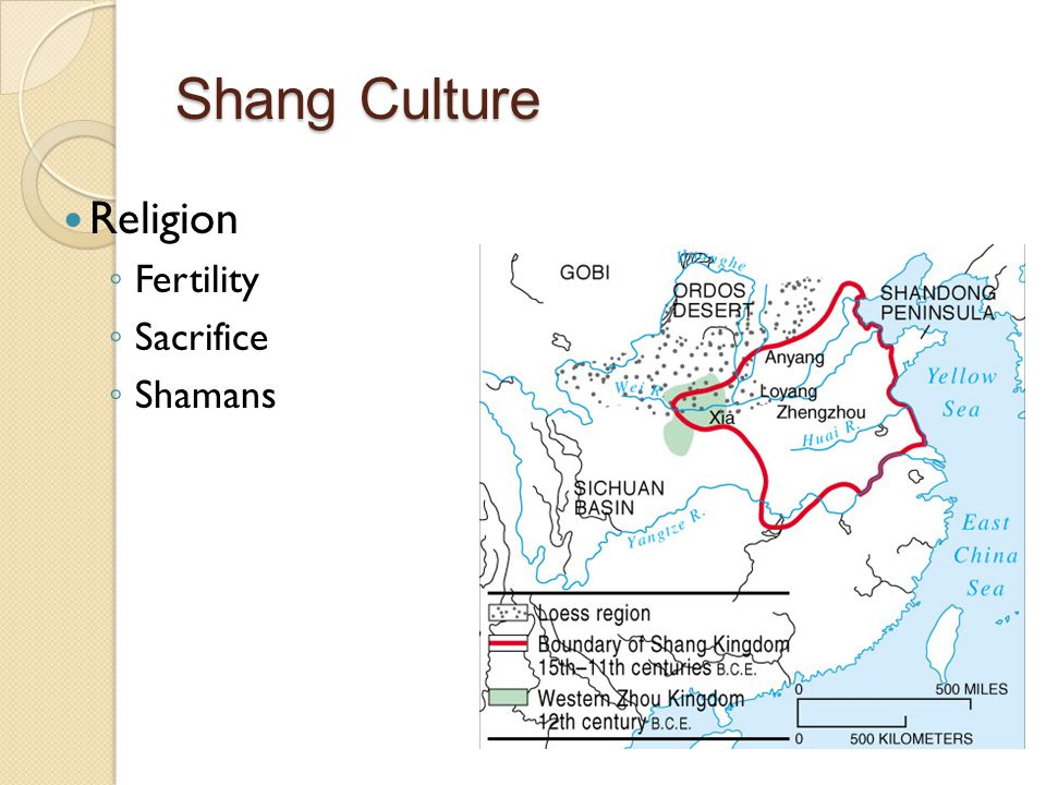 Religion ◦ Fertility ◦ Sacrifice ◦ Shamans Shang Culture