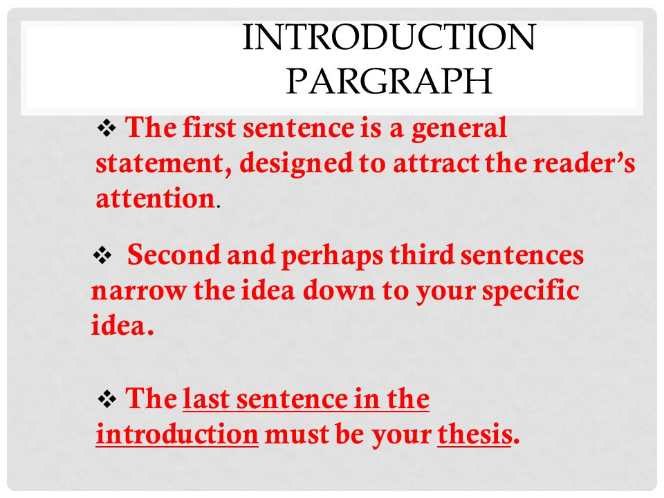 INTRODUCTION PARGRAPH  The first sentence is a general statement, designed to attract the reader's attention.