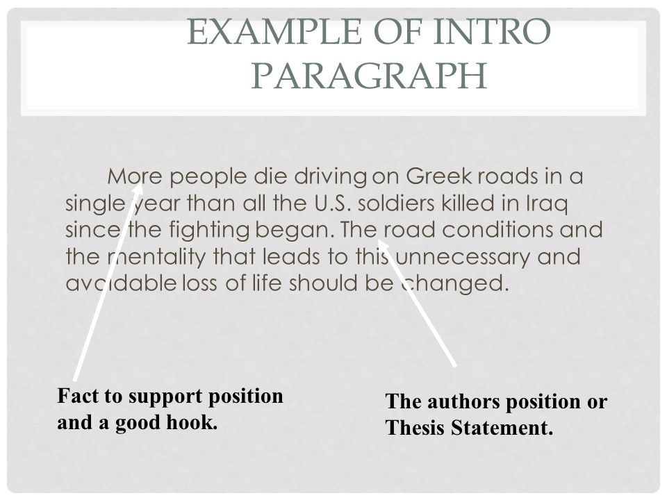 EXAMPLE OF INTRO PARAGRAPH More people die driving on Greek roads in a single year than all the U.S.