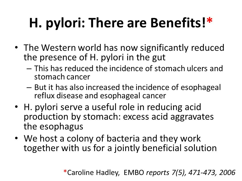 H.pylori: There are Benefits!* The Western world has now significantly reduced the presence of H.