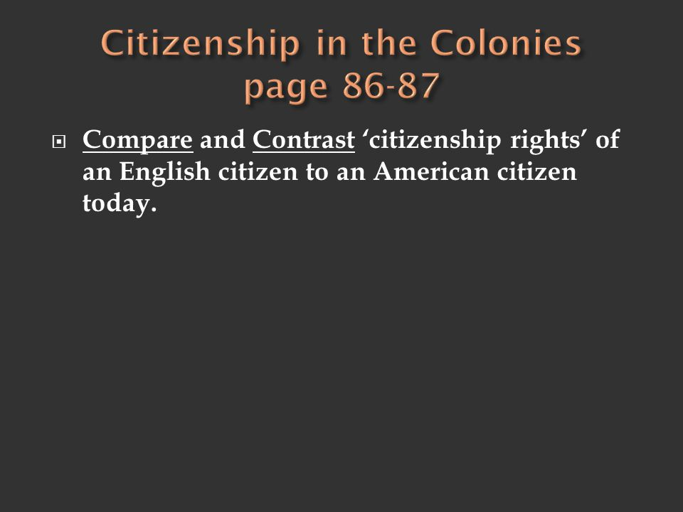  Compare and Contrast 'citizenship rights' of an English citizen to an American citizen today.