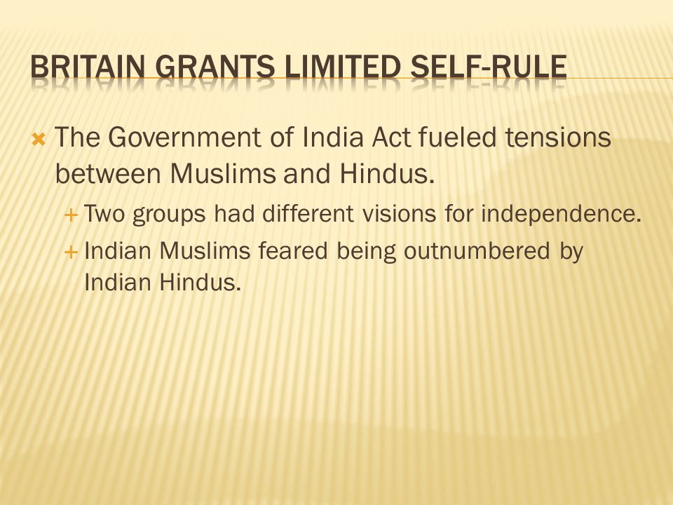  The Government of India Act fueled tensions between Muslims and Hindus.  Two groups had different visions for independence.  Indian Muslims feared