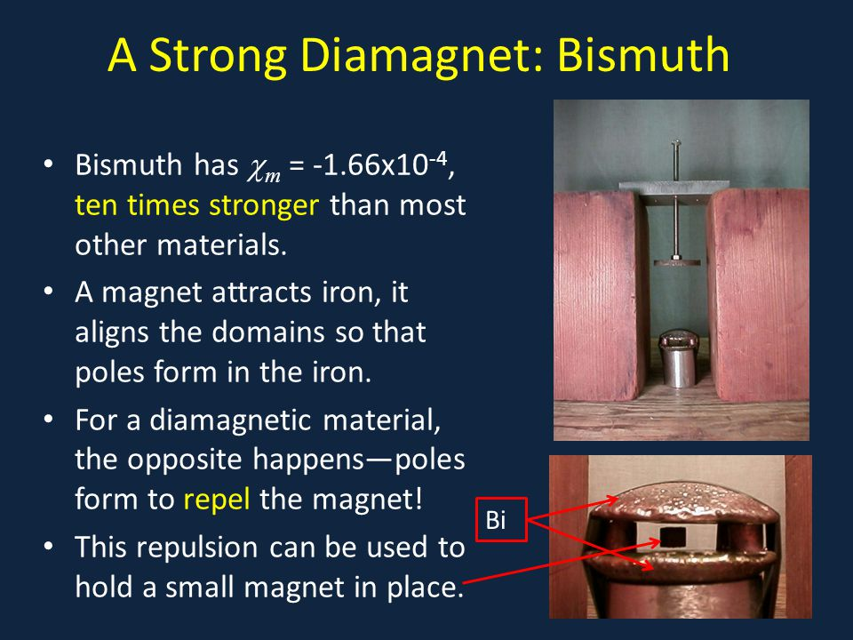 A Strong Diamagnet: Bismuth Bismuth has  m = -1.66x10 -4, ten times stronger than most other materials.