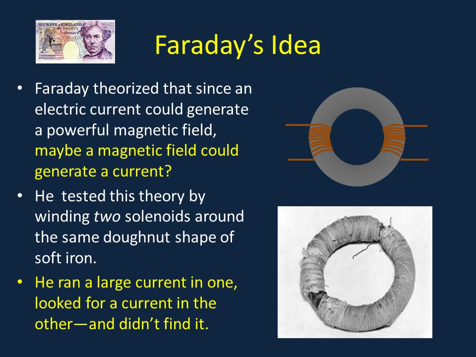 Faraday's Discovery He ran a large current in one, looked for a current in the other—and didn't find it.