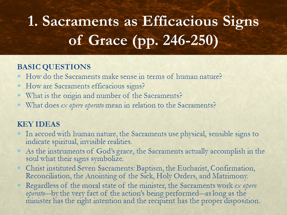 GUIDED EXERCISE Perform a focused reading on the introduction to this chapter based on the following question:  How do the Sacraments correspond to a need of human nature.
