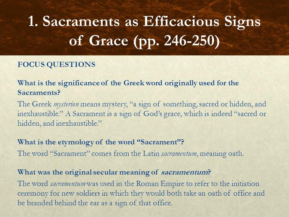 FOCUS QUESTIONS How is a Sacrament a sign of grace.