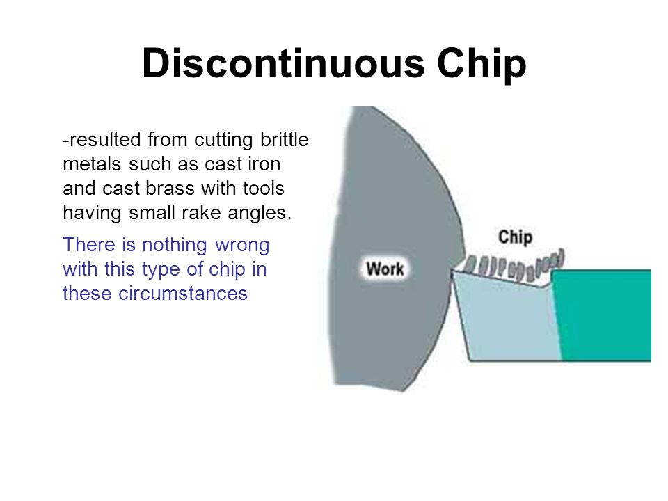 Discontinuous Chip -resulted from cutting brittle metals such as cast iron and cast brass with tools having small rake angles. There is nothing wrong