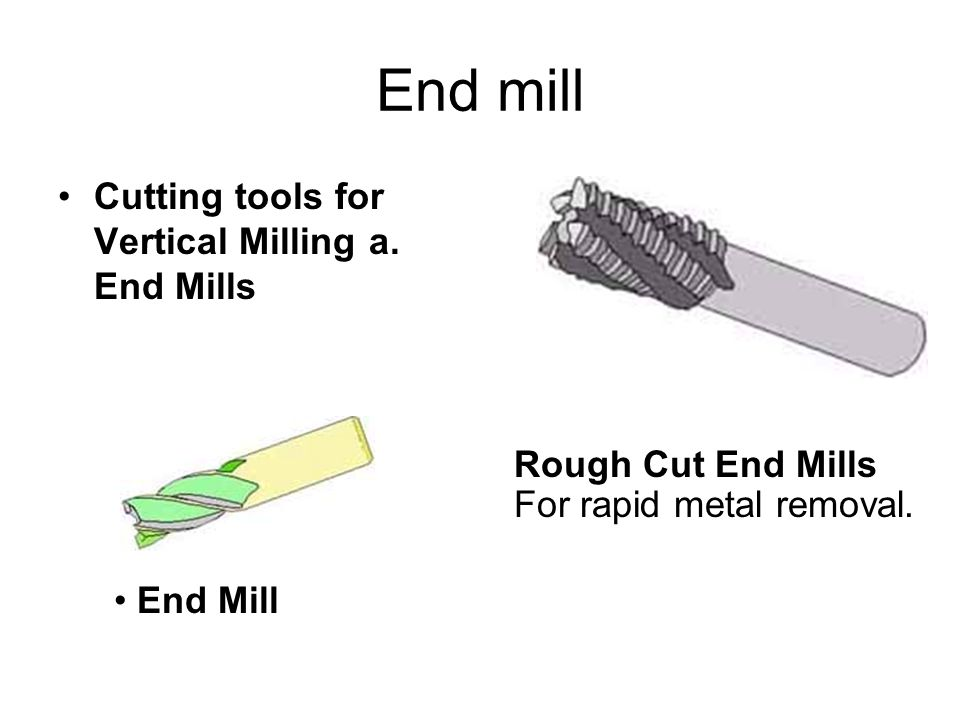 End mill Cutting tools for Vertical Milling a. End Mills Rough Cut End Mills For rapid metal removal. End Mill