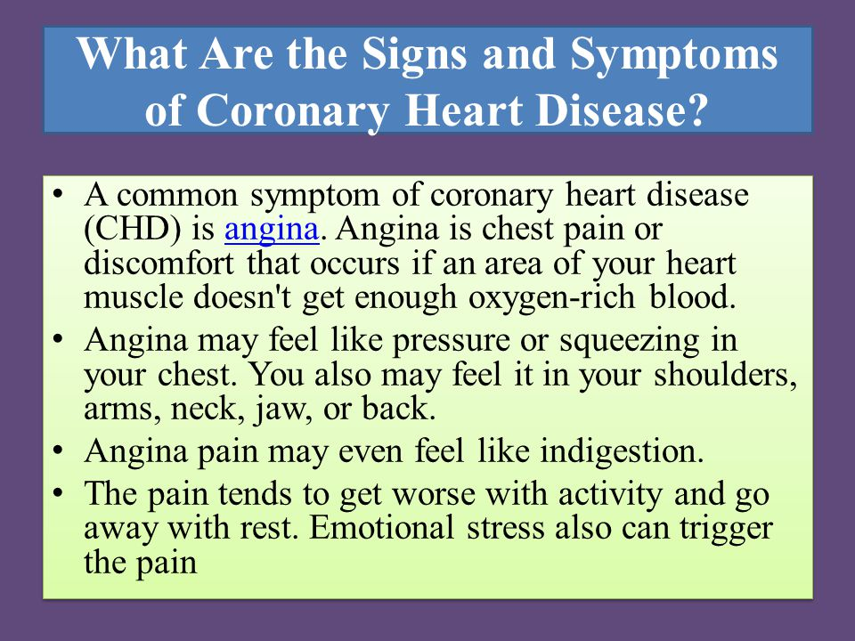 What Are the Signs and Symptoms of Coronary Heart Disease.