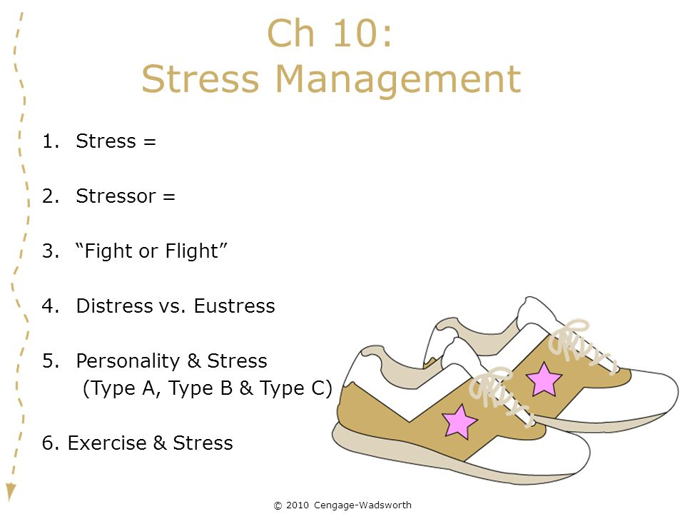 "© 2010 Cengage-Wadsworth Ch 10: Stress Management 1.Stress = 2.Stressor = 3.""Fight or Flight"" 4.Distress vs. Eustress 5.Personality & Stress (Type A,"