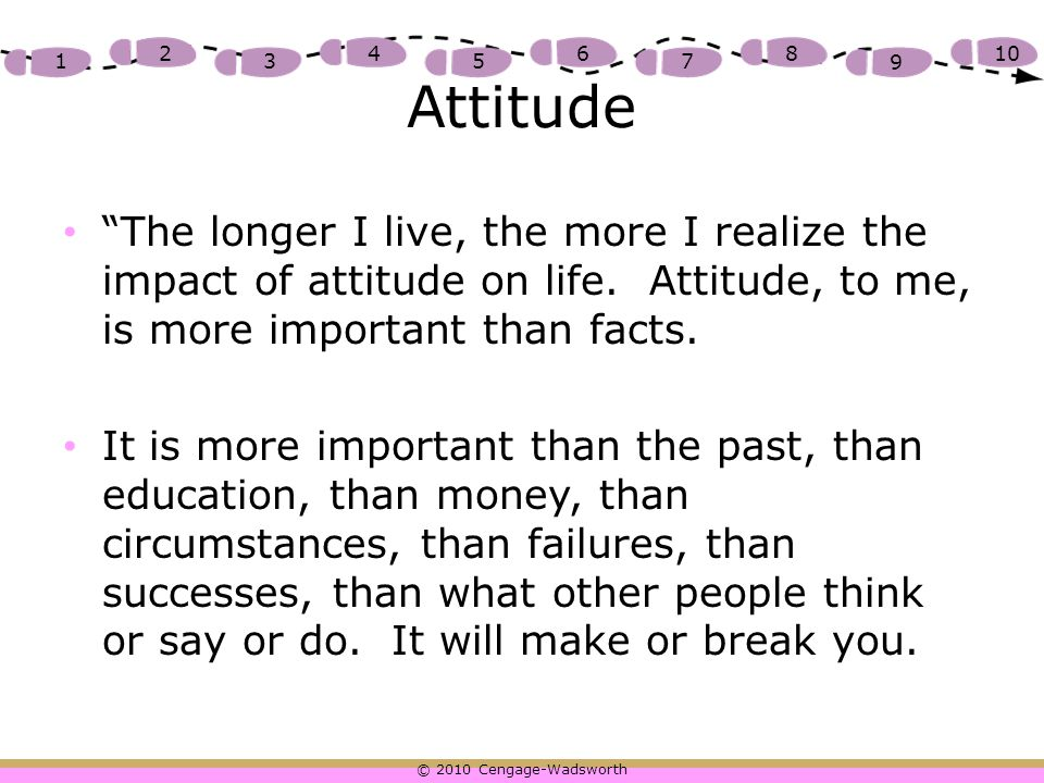 "© 2010 Cengage-Wadsworth 1 2 3 4 5 6 7 8 9 10 Attitude ""The longer I live, the more I realize the impact of attitude on life. Attitude, to me, is more"