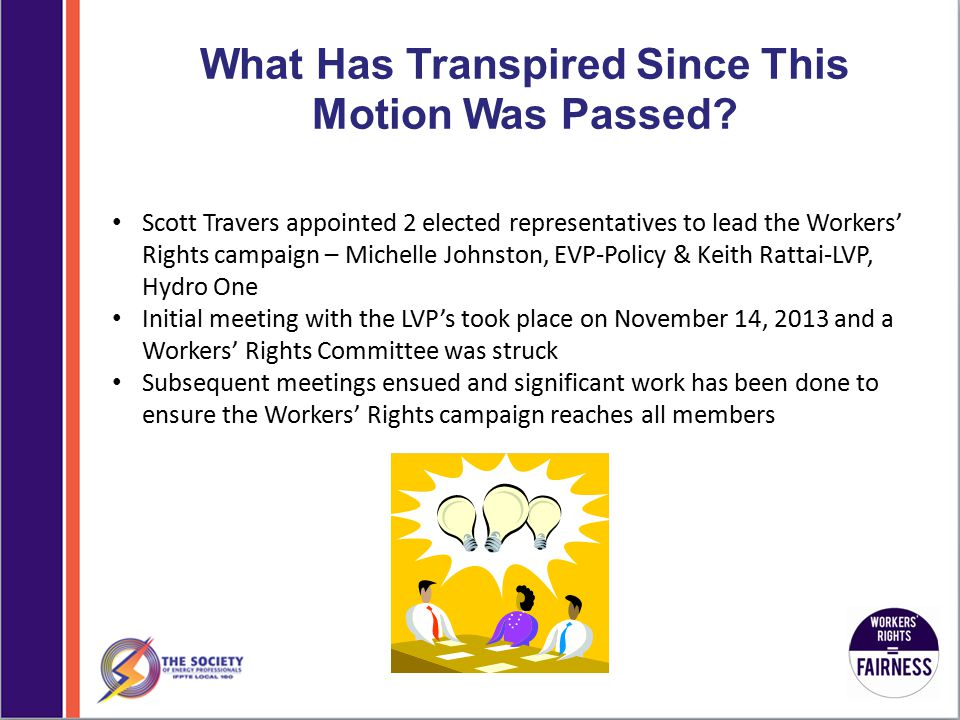 What Has Transpired Since This Motion Was Passed.