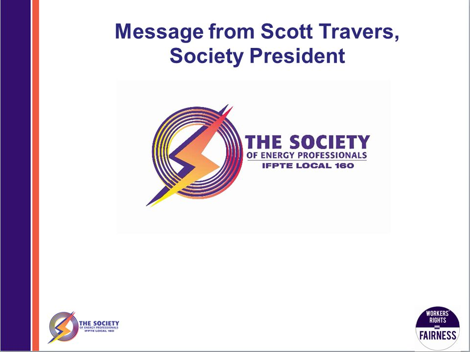Message from Scott Travers, Society President