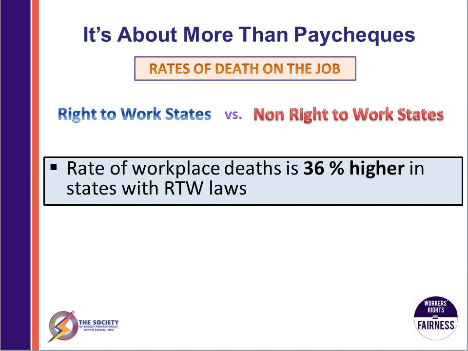 It's About More Than Paycheques  Rate of workplace deaths is 36 % higher in states with RTW laws