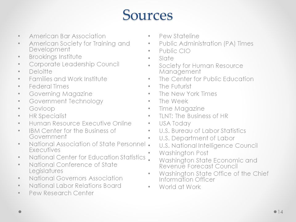 Sources American Bar Association American Society for Training and Development Brookings Institute Corporate Leadership Council Deloitte Families and Work Institute Federal Times Governing Magazine Government Technology Govloop HR Specialist Human Resource Executive Online IBM Center for the Business of Government National Association of State Personnel Executives National Center for Education Statistics National Conference of State Legislatures National Governors Association National Labor Relations Board Pew Research Center Pew Stateline Public Administration (PA) Times Public CIO Slate Society for Human Resource Management The Center for Public Education The Futurist The New York Times The Week Time Magazine TLNT: The Business of HR USA Today U.S.
