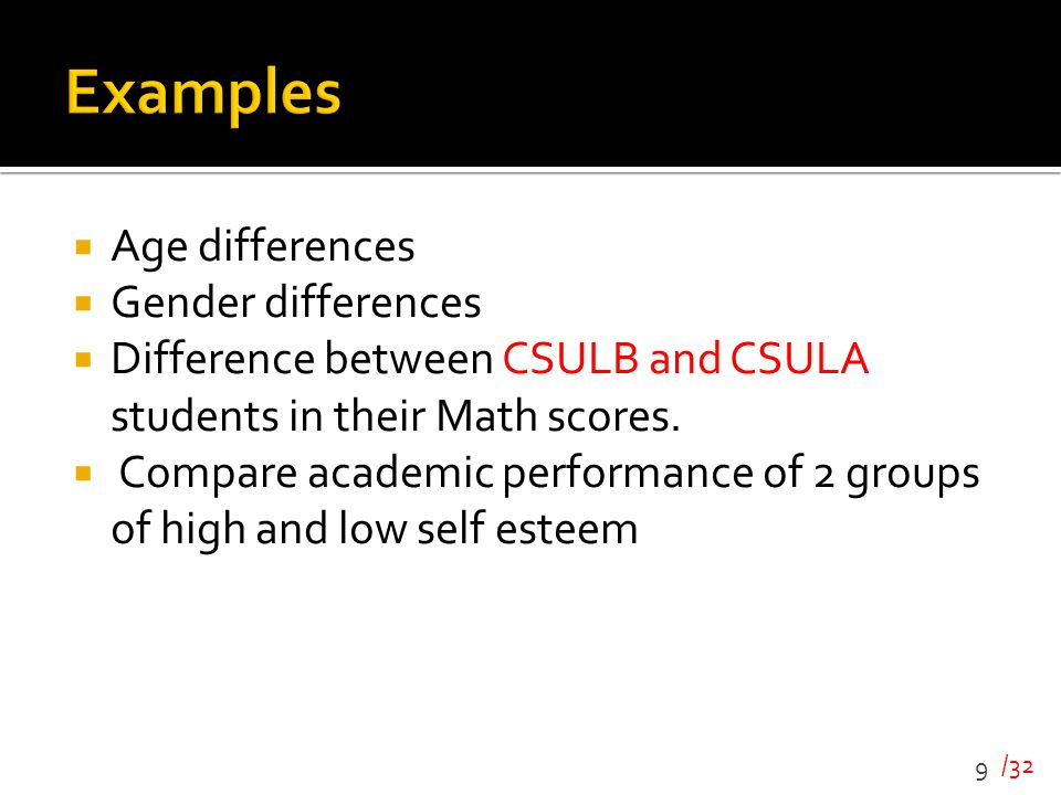 /32  Age differences  Gender differences  Difference between CSULB and CSULA students in their Math scores.  Compare academic performance of 2 gro