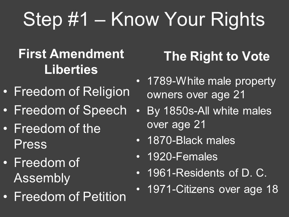 Step #1 – Know Your Rights Freedom of Religion Freedom of Speech Freedom of the Press Freedom of Assembly Freedom of Petition The Right to Vote 1789-White male property owners over age 21 By 1850s-All white males over age 21 1870-Black males 1920-Females 1961-Residents of D.