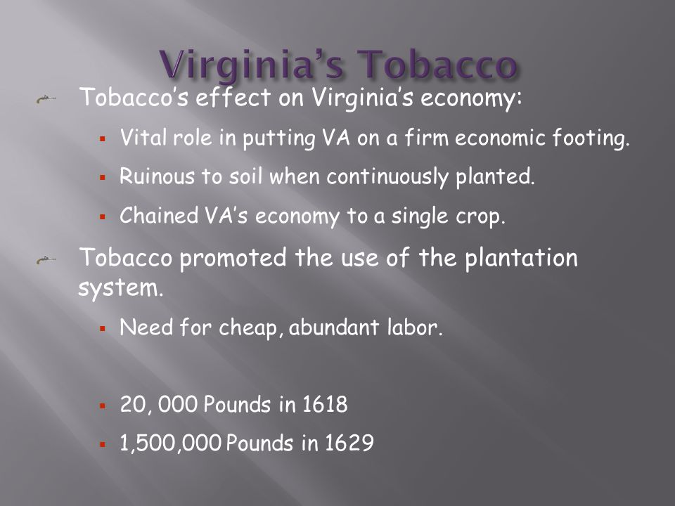 Tobacco's effect on Virginia's economy:  Vital role in putting VA on a firm economic footing.