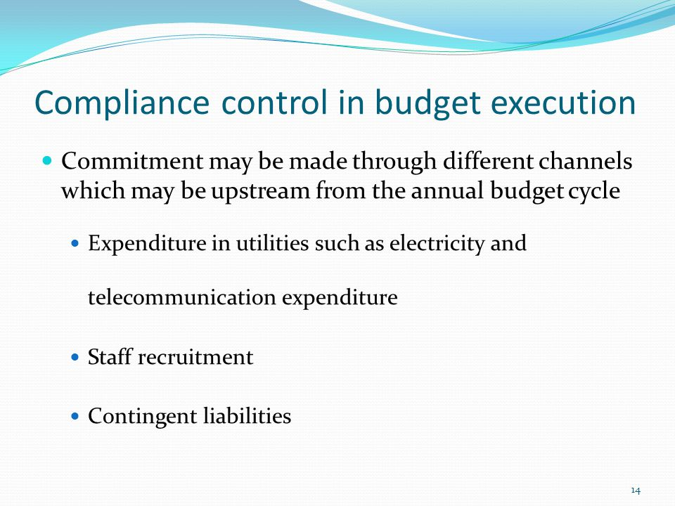 Compliance control in budget execution Commitment may be made through different channels which may be upstream from the annual budget cycle Expenditure in utilities such as electricity and telecommunication expenditure Staff recruitment Contingent liabilities 14