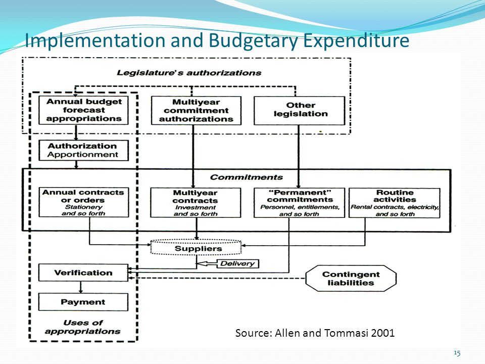 Implementation and Budgetary Expenditure 15 Source: Allen and Tommasi 2001