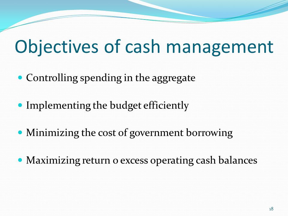 Objectives of cash management Controlling spending in the aggregate Implementing the budget efficiently Minimizing the cost of government borrowing Maximizing return o excess operating cash balances 18