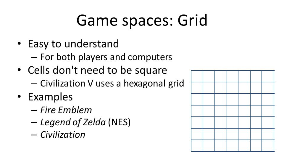 Game spaces: Grid Easy to understand – For both players and computers Cells don't need to be square – Civilization V uses a hexagonal grid Examples –