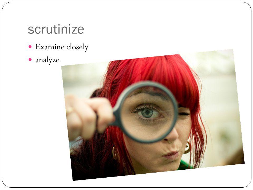 scrutinize Examine closely analyze