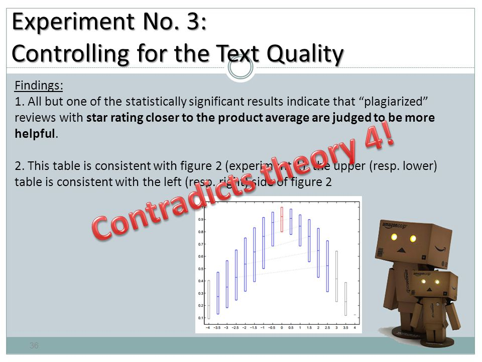 Experiment No. 3: Controlling for the Text Quality Findings: 1.