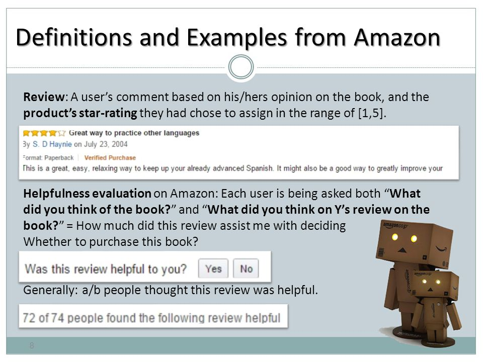 Review: A user's comment based on his/hers opinion on the book, and the product's star-rating they had chose to assign in the range of [1,5].