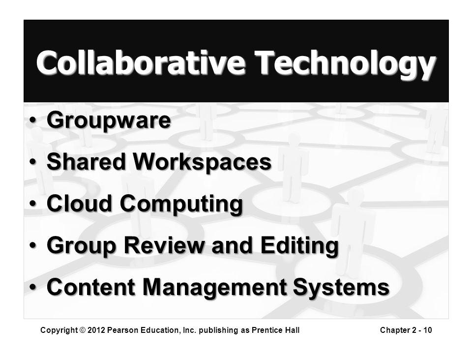 Collaborative Technology GroupwareGroupware Shared WorkspacesShared Workspaces Cloud ComputingCloud Computing Group Review and EditingGroup Review and Editing Content Management SystemsContent Management Systems Copyright © 2012 Pearson Education, Inc.