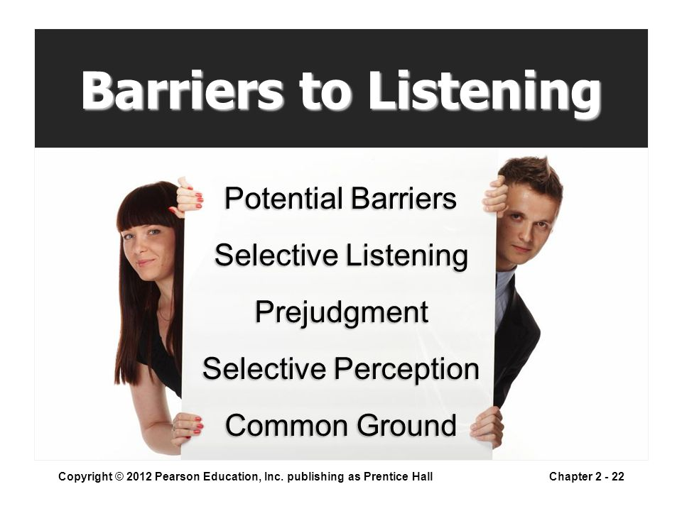 Barriers to Listening Copyright © 2012 Pearson Education, Inc.