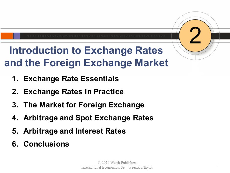 Introduction to Exchange Rates and the Foreign Exchange Market 2 1.Exchange Rate Essentials 2.Exchange Rates in Practice 3.The Market for Foreign Exchange 4.Arbitrage and Spot Exchange Rates 5.Arbitrage and Interest Rates 6.Conclusions © 2014 Worth Publishers International Economics, 3e | Feenstra/Taylor 1