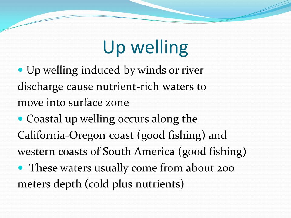 Up welling Up welling induced by winds or river discharge cause nutrient-rich waters to move into surface zone Coastal up welling occurs along the Cal