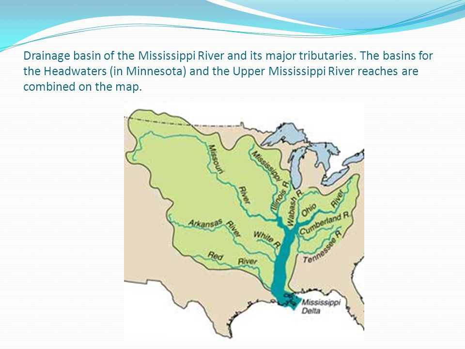 Drainage basin of the Mississippi River and its major tributaries. The basins for the Headwaters (in Minnesota) and the Upper Mississippi River reache
