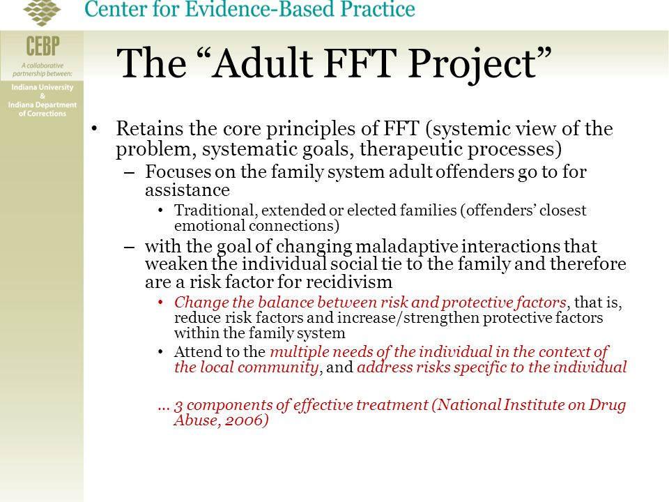 "The ""Adult FFT Project"" Retains the core principles of FFT (systemic view of the problem, systematic goals, therapeutic processes) – Focuses on the fa"