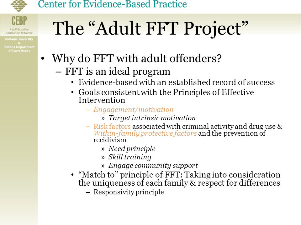"The ""Adult FFT Project"" Why do FFT with adult offenders? – FFT is an ideal program Evidence-based with an established record of success Goals consiste"
