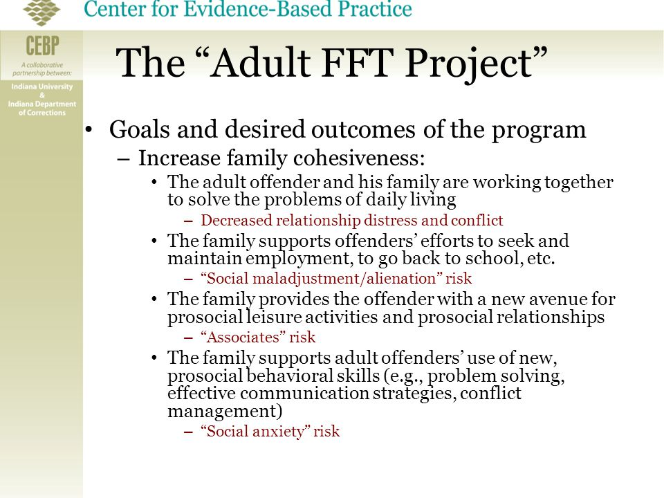 "The ""Adult FFT Project"" Goals and desired outcomes of the program – Increase family cohesiveness: The adult offender and his family are working togeth"